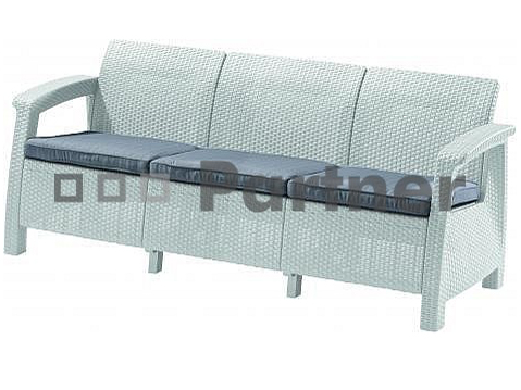 Záhradná lavička Corfu love seat max (biela) (um. Ratan)