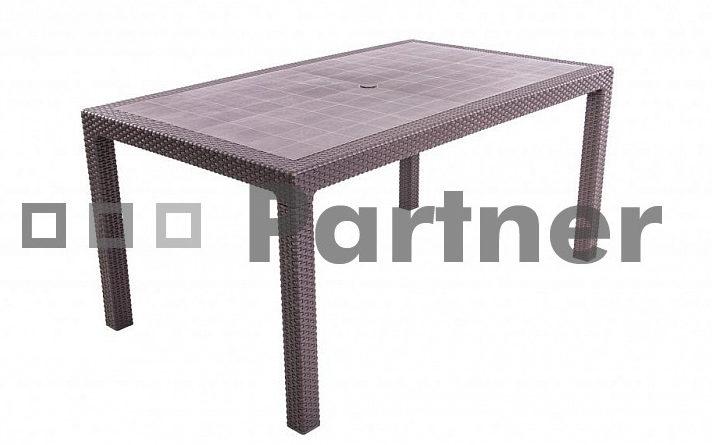Záhradný stôl Manhattan 165x90cm (hnedá) (um. Ratan)
