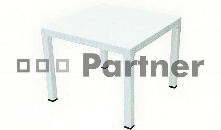 Záhradný stôl Manhattan 95x95cm (biela) (um. Ratan)