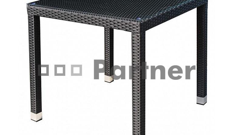 Záhradný stôl Napoli 80 (čierna) (um. Ratan)