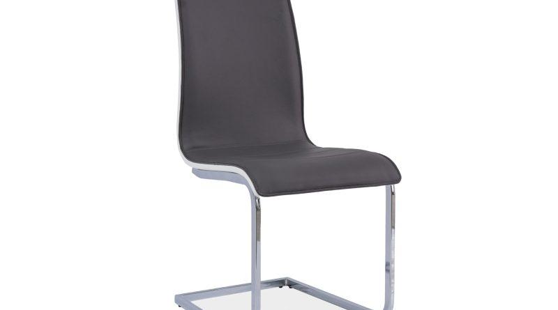 Jedálenská stolička H-133 (ekokoža sivá + biela)