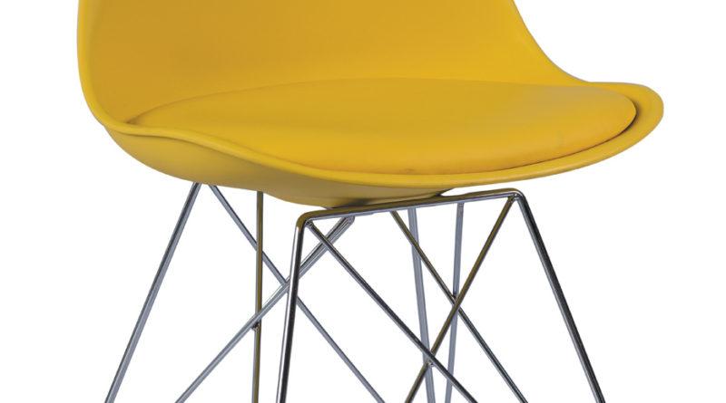 Jedálenská stolička Tim (žltá + chróm)