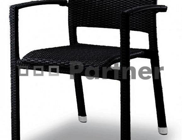 Záhradná stolička čierna C88101 NE (Umelý ratan)