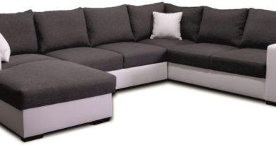 Rohová sedačka U Vega L+2F+A+2 (L) biela + čierna