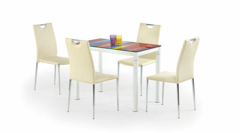 Jedálenský stôl Argus (biela + viacfarebné) (pre 4 osoby)