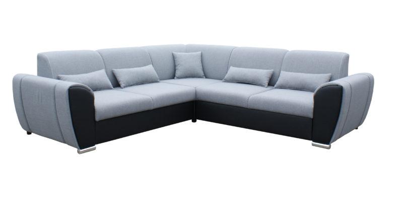Rohová sedačka Denim (svetlosivá + čierna) (P)