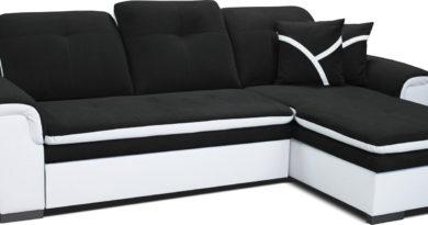 Rohová sedačka Estevan 2F+L (čierna + biela) (P)