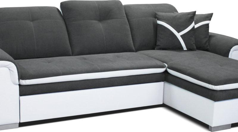 Rohová sedačka Estevan 2F+L (sivá + biela) (P)
