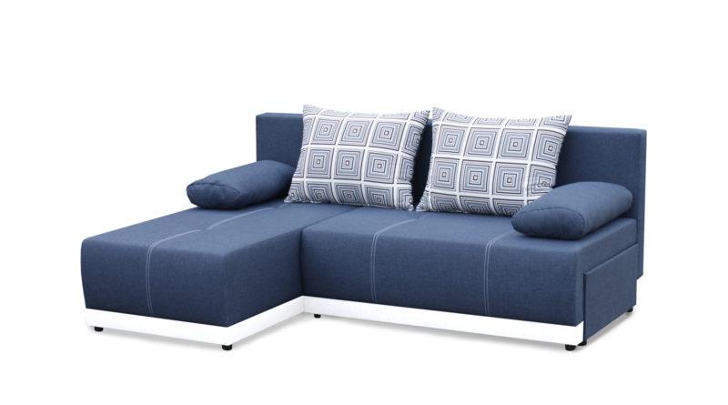 Rohová sedačka Picollo (modrá + biela) (L)