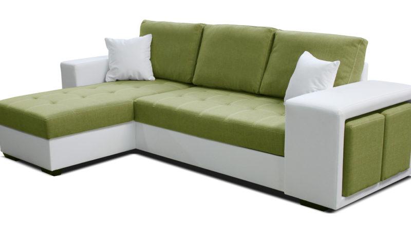 Rohová sedačka Thema Lux L+2F (zelená + biela) (L)