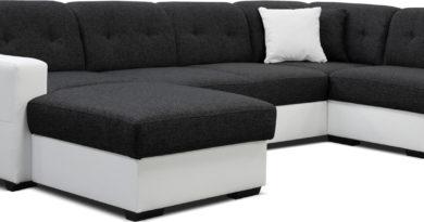 Rohová sedačka U Hampton L2A1 (čierna + biela) (L)