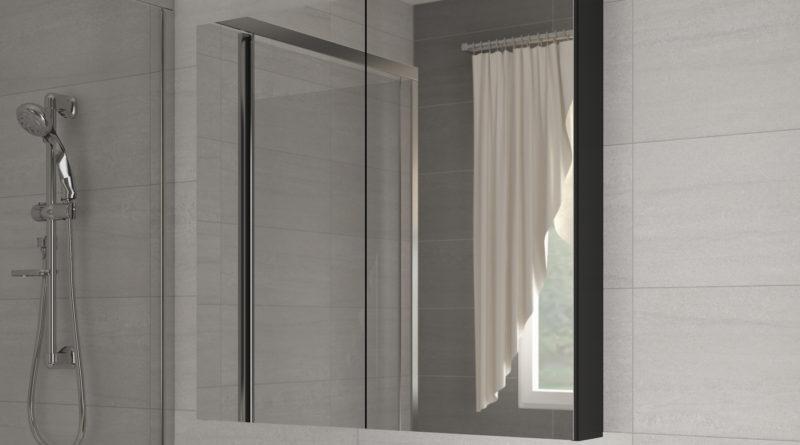 Kúpelňová skrinka na stenu Della 100 čierna + zrkadlo