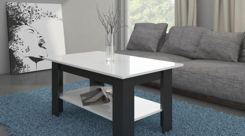 Konferenčný stolík Elaiza (čierna + lesk biely)