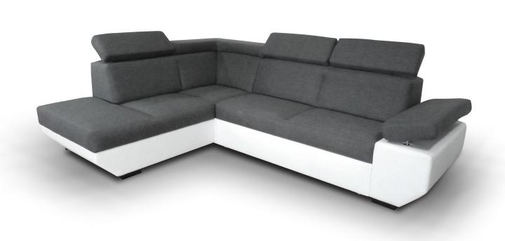 Rohová sedačka Akron biela + tmavosivá (L)